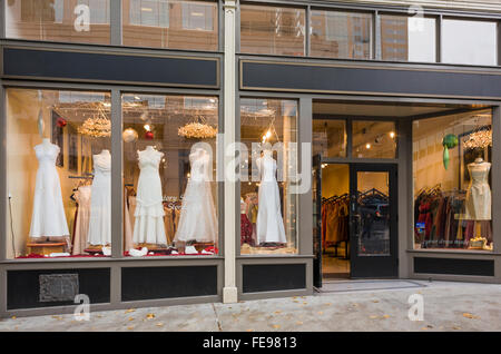 c475c40c1 Exterior of bridal boutique with wedding dresses gowns displayed in shop  windows - Stock Photo