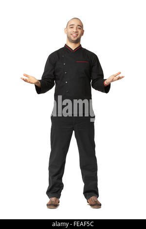 Fullbody portrait of Afro American professional cook isolated on white. - Stock Photo
