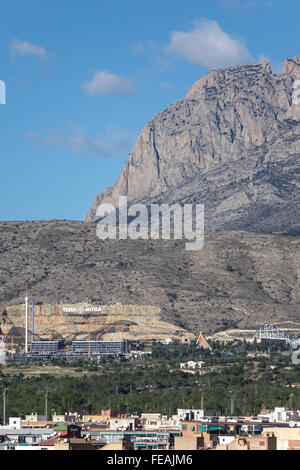 View of Terra Mitica amusement park viewed from a distance with mountains in back, Benidorm, Alicanta province, - Stock Photo