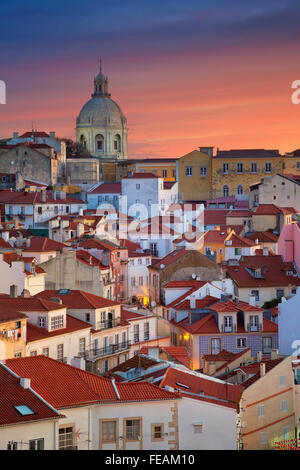 Lisbon. Image of Lisbon, Portugal during dramatic sunrise. - Stock Photo