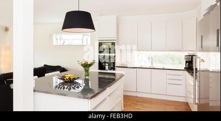 fancy kitchen interior with kitchen island of granite - Stock Photo