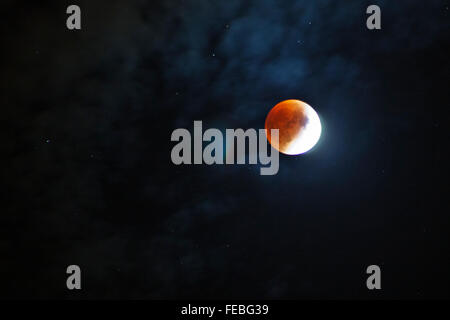 Full Blood Moon Lunar Eclipse. - Stock Photo