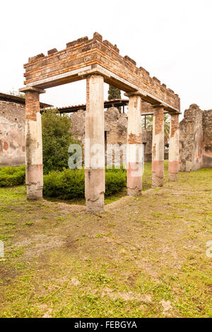 Peristyle of the Villa of Diomedes (Villa di Diomede), near the Herculaneum Gate at the ancient city site of Pompeii, - Stock Photo