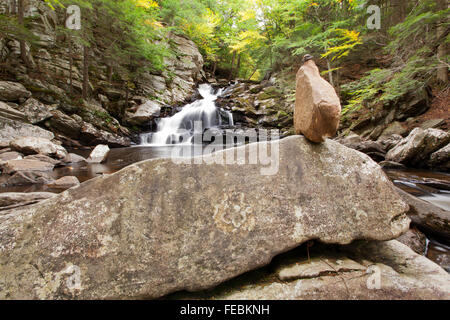 A view of Wahconah Falls in the Berkshire Mountains of western Massachusetts. - Stock Photo
