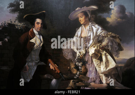 Peter Perez Burdett (c.1734-1793). English cartographer and artist. Peter Perez Burdett and his first wife Hannah, - Stock Photo