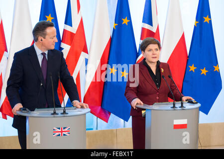 Warsaw, Poland. 5th February, 2016. Press conference of Polish Prime Minister Beata Szydlo and British Prime Minster David Cameron in Chancellery of the Prime Minister of Poland on 05 February 2016 in Warsaw, Poland. Credit:  MW/Alamy Live News
