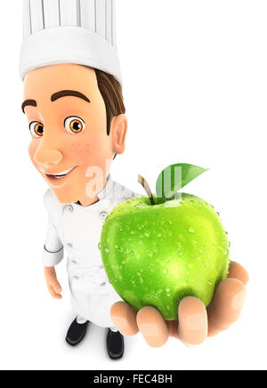 3d head holding fresh apple, isolated white background - Stock Photo
