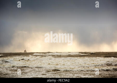 Storm waves off Walney Island, Cumbria, UK, in the aftermath of Storm Gertrude, that battered the UK, with winds - Stock Photo