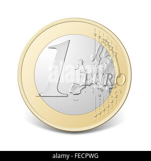 One euro coin, isolated on the white background, clipping path included. - Stock Photo