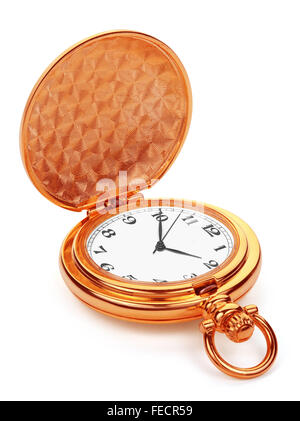 Gold pocket watch, isolated on the white background, clipping path included. - Stock Photo