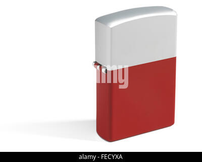 Red cigarette lighter isolated on white with metallic parts. - Stock Photo
