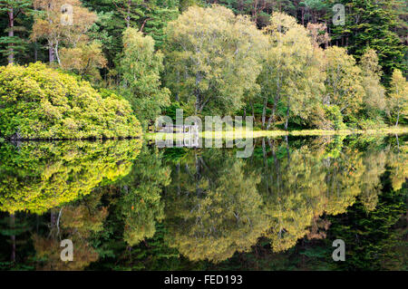 Autumn reflections in the Glencoe Lochan, Lochaber, Highlands, Scotland - Stock Photo