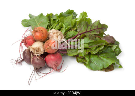 Bunch of fresh mixed color heirloom beets on white background - Stock Photo