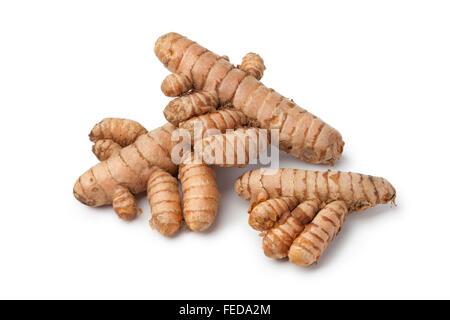 Fresh curcuma roots on white background - Stock Photo