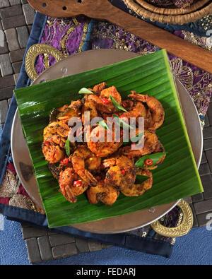 Tawa prawns. Spicy fried masala shrimp. India Food - Stock Photo