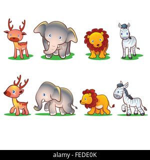 Cute animals front and side.Wild Animals Vector Set, Zoo, Safari, Front view and Side View.Cute wild animals in - Stock Photo