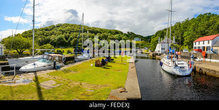 Panorama of harbour at Crinan Argyll Scotland at one end of the Crinan Canal - Stock Photo