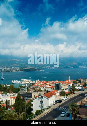 Top view of the seacoast of Budva, Montenegro, Balkans - Stock Photo