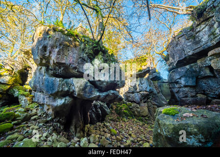 Limestone gorge known as Easegill Kirk in the valley of Leck Beck on Lancashire Cumbria border - Stock Photo