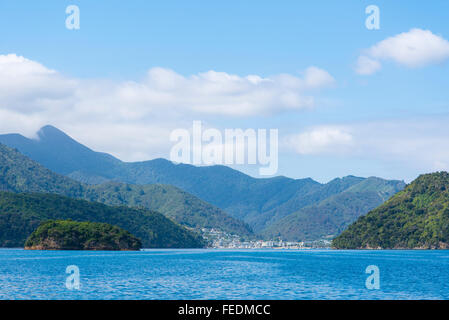 Distant view of the port of Picton Queen Charlotte Sound Marlborough Sounds New Zealand - Stock Photo