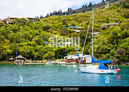 Boats at Punga Cove Endeavour Inlet Marlborough Sounds New Zealand - Stock Photo