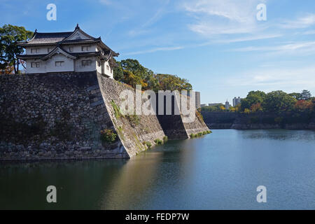 The moat and ramparts of Osaka-jo castle, Osaka, Japan - Stock Photo