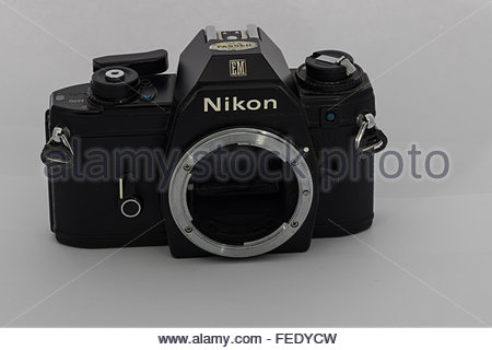 A Nikon EM 35mm SLR film SLR camera body only. An entry-level SLR made in Japan circa 1980. - Stock Photo