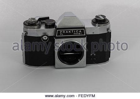 A Praktica Nova 1 a 35mm SLR film camera body only. A 1970's entry-level SLR made in East Germany. - Stock Photo