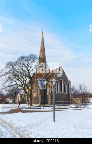 Church of St Alban in winter Copenhagen. St Alban Church is referred to the English Church. It is an Anglican church - Stock Photo