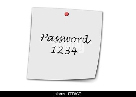 Password 1234 written on a memo isolated on white - Stock Photo