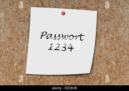 Passwort 1234 (German Password) written on a memo pinned on a cork board - Stock Photo