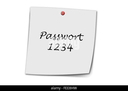 Passwort 1234 (German Password) written on a memo isolated on white - Stock Photo