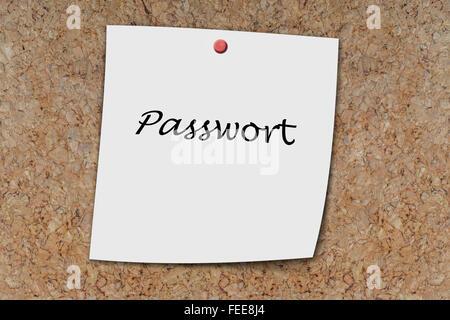 Passwort (German Password) written on a memo pinned on a cork board - Stock Photo