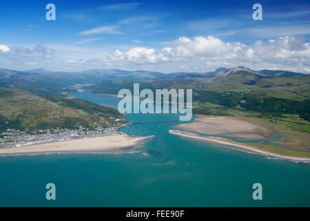 Aerial view of Barmouth, Mawddach estuary and Cadair Idris mountain range Snowdonia NAtional Park Gwynedd Mid Wales - Stock Photo