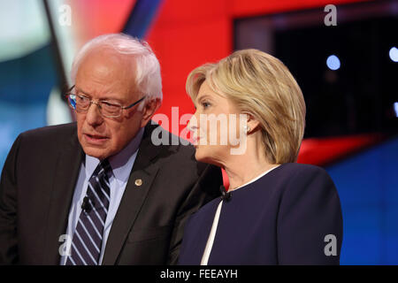LAS VEGAS, NV - OCTOBER 13 2015: CNN Democratic presidential debate features candidates Sen. Bernie Sanders, Hillary - Stock Photo
