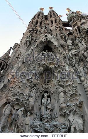 Stone relief-  rear exterior of the brilliant, perpetually unfinished building of architect Antoni Gaudi. Segrada - Stock Photo