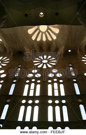 Segrada Familia temple. Vaulted ceiling, interior of brilliant, perpetually unfinished building, Catalan architect - Stock Photo