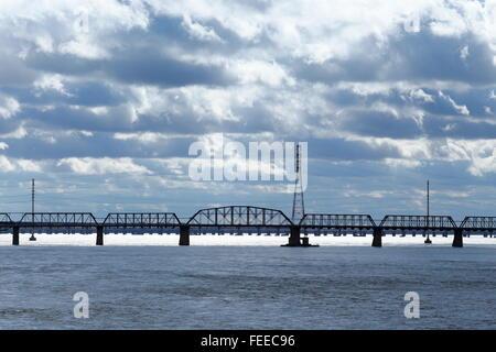 Victoria Bridge, Montreal, Quebec, Canada - Stock Photo