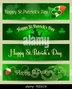St.Patrick's Day banners set with holiday symbols and wording Happy St. Patrick's day. Free font used. - Stock Photo