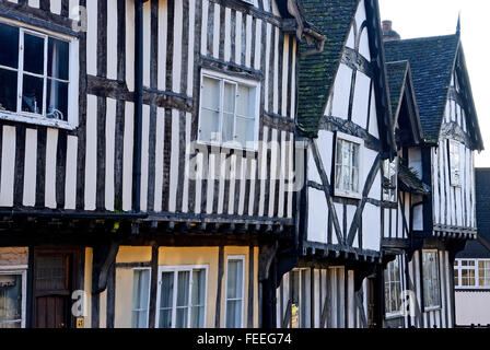 Half timbered medieval buildings in the centre of Warwick - Stock Photo