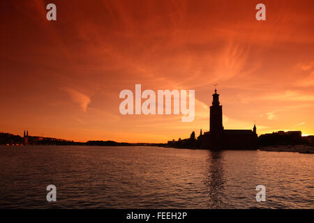 Stockholm City Hall at sunset, Sweden - Stock Photo