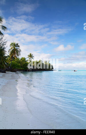 Matira Beach, Bora Bora, Society Islands, French Polynesia - Stock Photo