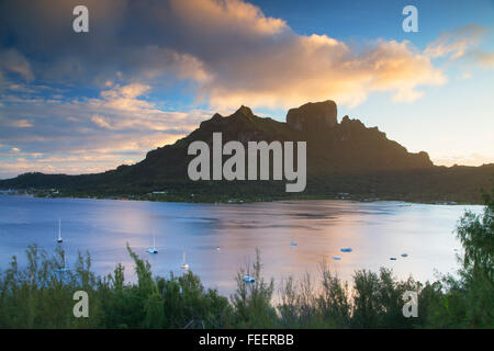 View of Mount Otemanu, Bora Bora, Society Islands, French Polynesia - Stock Photo
