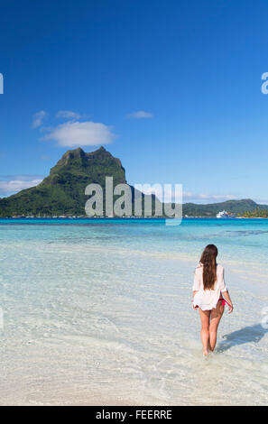 Woman on Motu Tapu, Bora Bora, Society Islands, French Polynesia - Stock Photo
