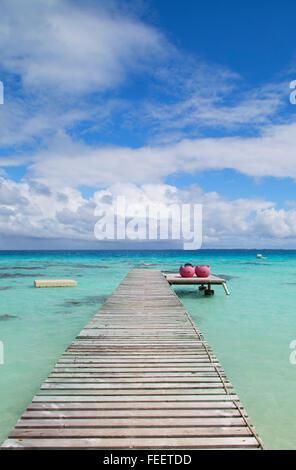 Jetty on lagoon, Fakarava, Tuamotu Islands, French Polynesia - Stock Photo