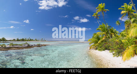Beach at Tetamanu, Fakarava, Tuamotu Islands, French Polynesia - Stock Photo