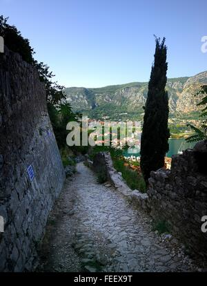 Footpath down in to the village of Kotor - Stock Photo