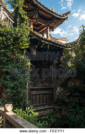 Garden pavilion in the Small Yellow Building in the Three Lanes Seven Alleys area of Fuzhou. - Stock Photo