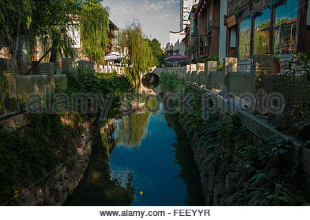 A waterway in the Three Lanes Seven Alleys old town part of Fuzhou city in Fujian Province China. - Stock Photo