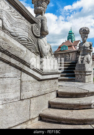 Mythological sculptures at fountain Sprudelhof in Bad Nauheim. This complex is recognized as the largest center - Stock Photo